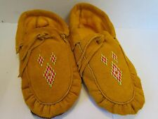 AUTHENTIC NORTHERN NATIVE MOCCASINS 10 INCH DIAMOND BEADING, DOUBLE SOLE, TIES