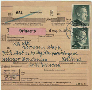 EXPRESS-PAKETKARTE DONAUWÖRTH-SS TrÜbPl SEELAGER, DUNDAGA/DONDANGEN, 1943