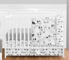 Sweet Jojo Designs Bumperless Black Fox Arrow Baby Boy Girl 4pc Crib Bedding Set