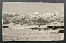 Mint Vintage Train Cars In Front Of Snowy Mountains Real Picture Postcard