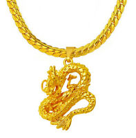 18k Yellow Gold Mens Dragon With 5mm Cuban Curb Link Snake Chain Necklace