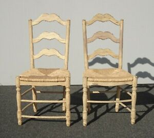 Pair of French Country Rustic Off White Ladderback Rush Seat Side Chairs