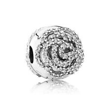 Authentic Pandora Sterling Silver Shimmering Rose Clip Charm 791529CZ