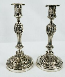 Early Pair Christofle Silverplate Candlesticks Candelabra Bases