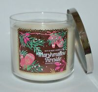 NEW BATH & BODY WORKS MARSHMALLOW FIRESIDE SCENTED CANDLE 3 WICK 14.5 OZ LARGE
