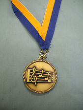 Music notes medal award blue and gold neck drape