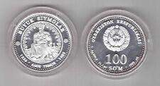 UZBEKISTAN - EXTREMELY RARE SILVER PROOF 100 SOM COIN 1999 YEAR AMIR TEMUR THRON