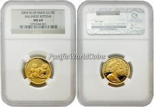 Isle of Man 2003 Balinese Kittens 1/5 oz Gold Ngc Ms 69 Ultra Cameo