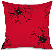 Set of 4 Diamante Red & Black Faux Silk 18 Inch Cushion Covers