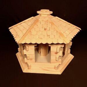Bird House Large Plain Wood Woodeeworld