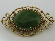 Stunning Quality Vintage Large & Unusual 9ct Gold & Chrysoprase Brooch