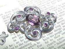 Antique to Vintage STERLING SILVER AMETHYST GEM OR GLASS BROOCH PIN 925 (J112)