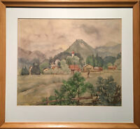 Austrian Landscape - Framed Watercolour - Signed And Dated 1938