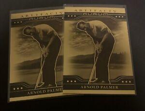 (2) 2021 Upper Deck Artifacts Arnold Palmer PGA Golf Gold Aurum SP Card LOT