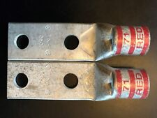 "T&B, 350 Red 71, Copper Compression Lug, 1.75"" CTRs, 1/2"" HOLE, LOT of 2"