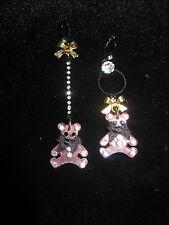 Mismatched Dangle Bear Earrings Betsey Johnson Pink Gingham