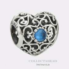 Authentic Pandora December Signature Heart London Blue Crystal Bead 791784NLB