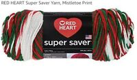 NWT RED HEART Super Saver Yarn Mistletoe Print Planned Pooling One 5 Oz Skein