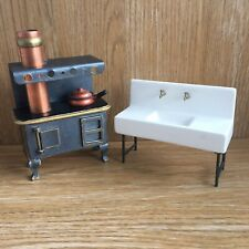 Dolls House Miniature Furniture 12th Scale Range Oven Stove & Ceramic Sink