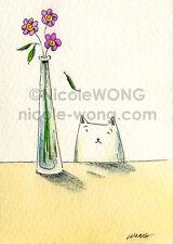 ACEO PRINT - Sad Little Leaf - cat, pet, pink, animal, flower vase, still life