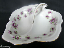 SWEET VIOLETS DIVIDED PICKLE / SNACKS DISH, 1st QUALITY, VGC, ROYAL ALBERT