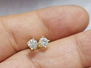 0.80Ct Genuine Natural Diamond Stud Earrings In Solid 14K Yellow Gold
