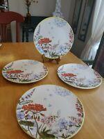 "Pier 1 Stoneware 8.5"" Wildflower Salad/Dessert Plate Cottagecore Set of 4 EUC"