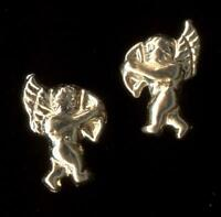 New 14K Solid Yellow Gold 11mm Cherub Angel Flying Wing Stud Earrings Nh