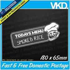 Todays Menu Rice Sticker/Decal - Commodore Holden JDM Drag Race Drift SS Import