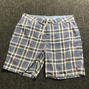 Polo Ralph Lauren Swim Trunks Mens Size 38 Blue/Gray/Red Plaid  1510300