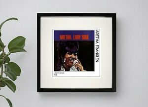 ARETHA FRANKLIN - LADY SOUL  BOXED PRINT POSTER ARTWORK 3 sizes Black or White