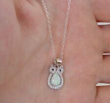 OWL NECKLACE PENDANT W/ OPAL CENTER & LAB DIAMONDS / 925 STERLING SILVER / 18''