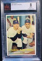 1957 Topps Yankee Power Hitters Mantle Berra #407 Bvg 8 Psa Regrade?