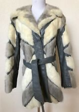 "Jacket Coat Fur Collar Silver Fox? And Leather Belted S/M Bust 40"" Bust Custom"