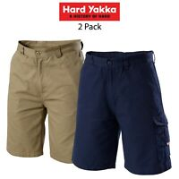 Mens Hard Yakka Legends Light Weight Cargo Shorts Cool Work 2 Pack Tough Y05906