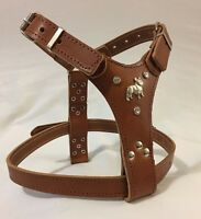 FRENCH BULLDOG HARNESS REAL LEATHER SMALL/PUPPY SILVER RHINESTONES
