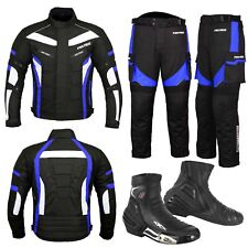 Motorbike Racing Suit Trouser & Jacket Cordura Fabric Touring Urban Shoes - BLUE