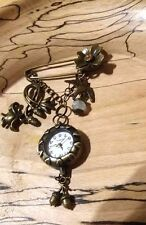 bronze chain ,brooch fob watch  Birds and Flowers