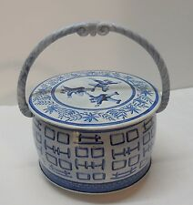 Round Blue Tin with Handle People Jumping on Lid Made in Western Germany