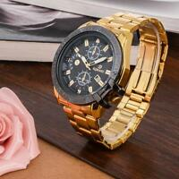Luxury Mens Gold Stainless Steel Date Quartz Analog Wrist Watch Black Dial GA