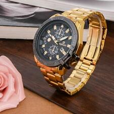 Luxury Mens Gold Stainless Steel Date Quartz Analog Wrist Watch Black Dial UP