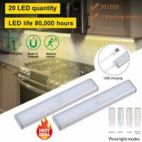 20LED USB Rechargeable Motion Sensor Closet Lights Wireless Under Cabinet Light#