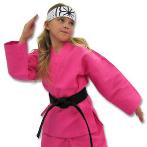 KANKU NEW Pink Karate Uniform, Gi 7.5 oz Adult Kids w/White belt Tae Kwon Do