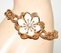 PULSERA ORO cadena metal dorada mujer flor blanca brazalete gold bracelet BB32