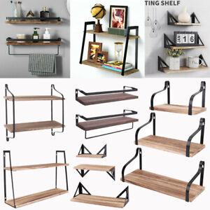 Wood Industrial Metal Floating Wall Mounted Shelves Rack Hanging Storage Display