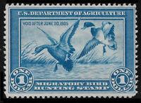 US RW1 1934 $1 Mallards Unsigned Avg/F No Gum. Free Shipping