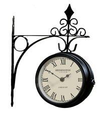 Kensington Metal Station Clock - Double Sided Outdoor Outside Garden Wall Clock