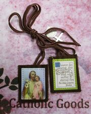 2 1/4 inch - St. Saint Joseph - Brown Scapular -  NEW