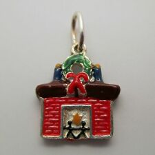 Vintage FIREPLACE Charm for Bracelet STERLING SILVER Christmas Hearth WREATH Bow
