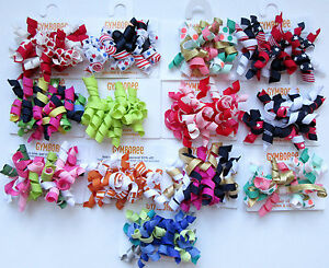 Gymboree Your Choice of Curly Curlies Barrette Pairs Daisy Batik July Tide Spice